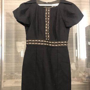 Tibi Bronze Rivet Bead Embellished Black Dress